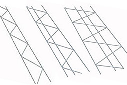 Three truss shape meshes with two, three, four longitudinal rods
