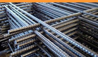 many welded reinforcing mesh panels piled up together